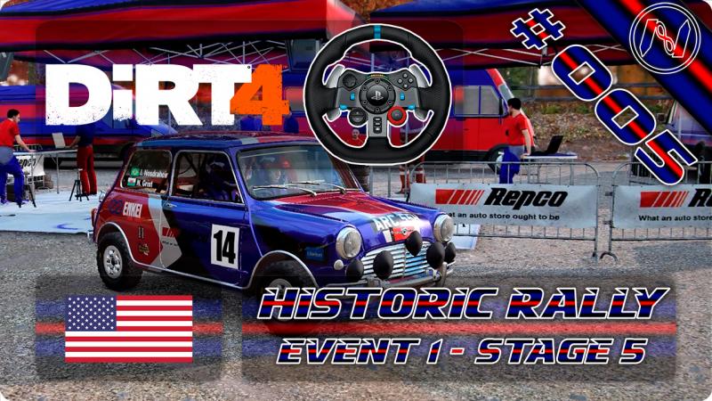 DiRT 4 | Playthrough | G29 | EUA | Historic Rally E1 - S5 | Baldwin Forest | Mini Cooper S